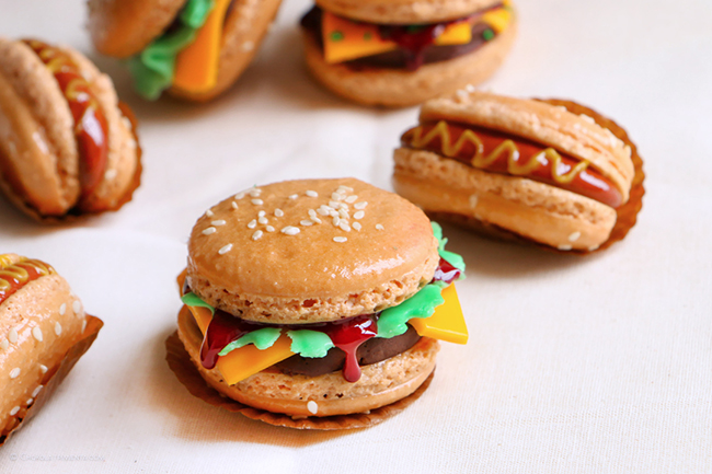 French Macarons de Hamburguesas y Hot Dogs