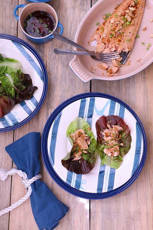 Wraps de salmon estilo asiatico