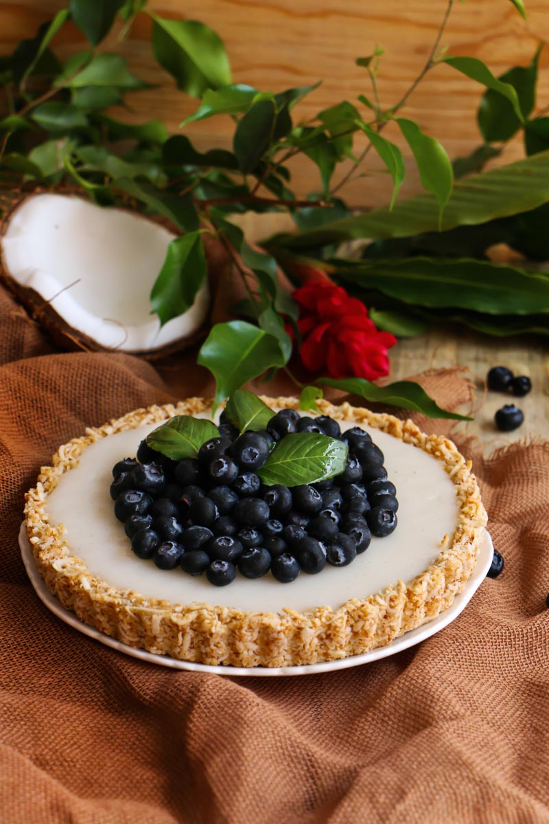 tarta vegana de coco y Blueberries.|chokolatpimienta.com
