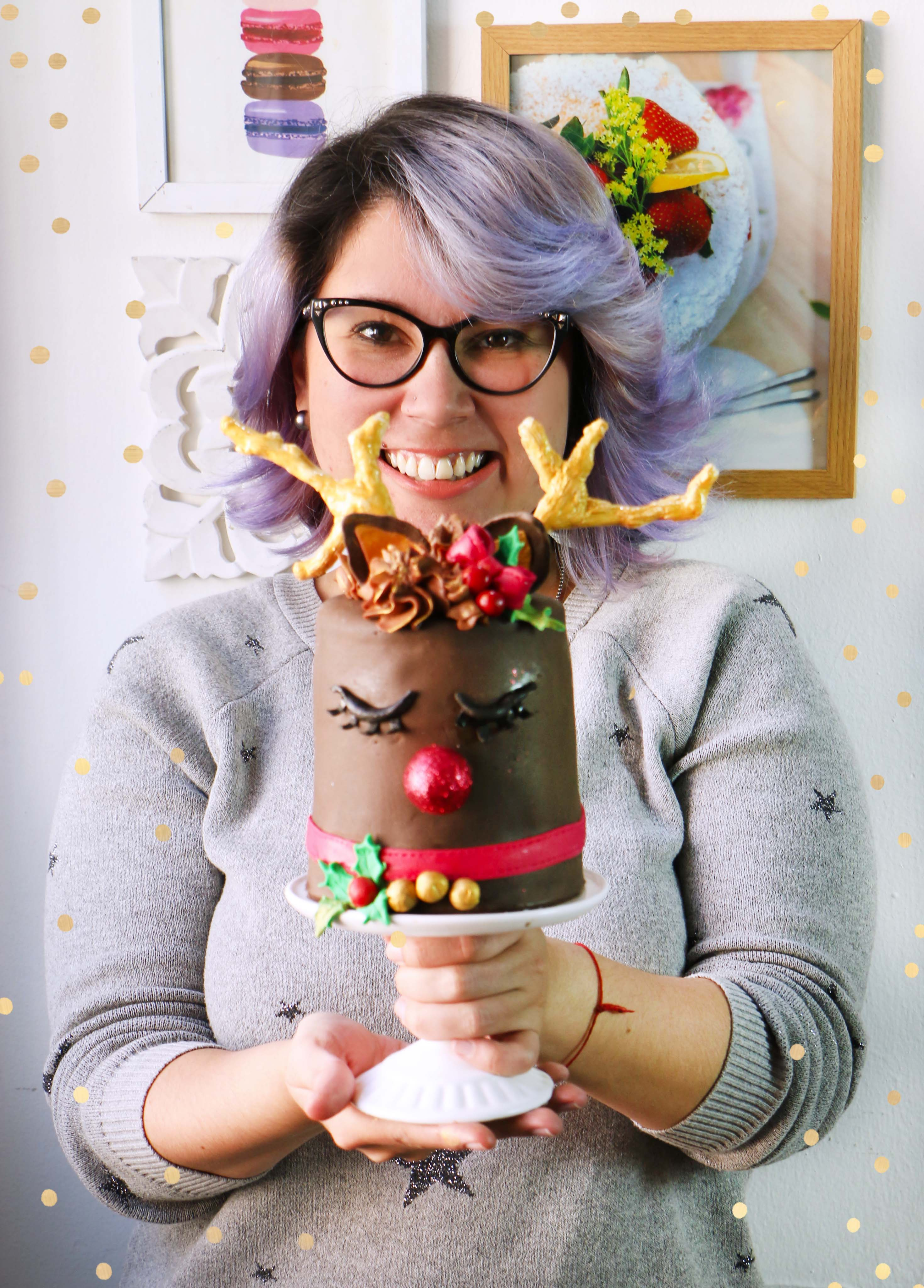 pastel de reno navideno
