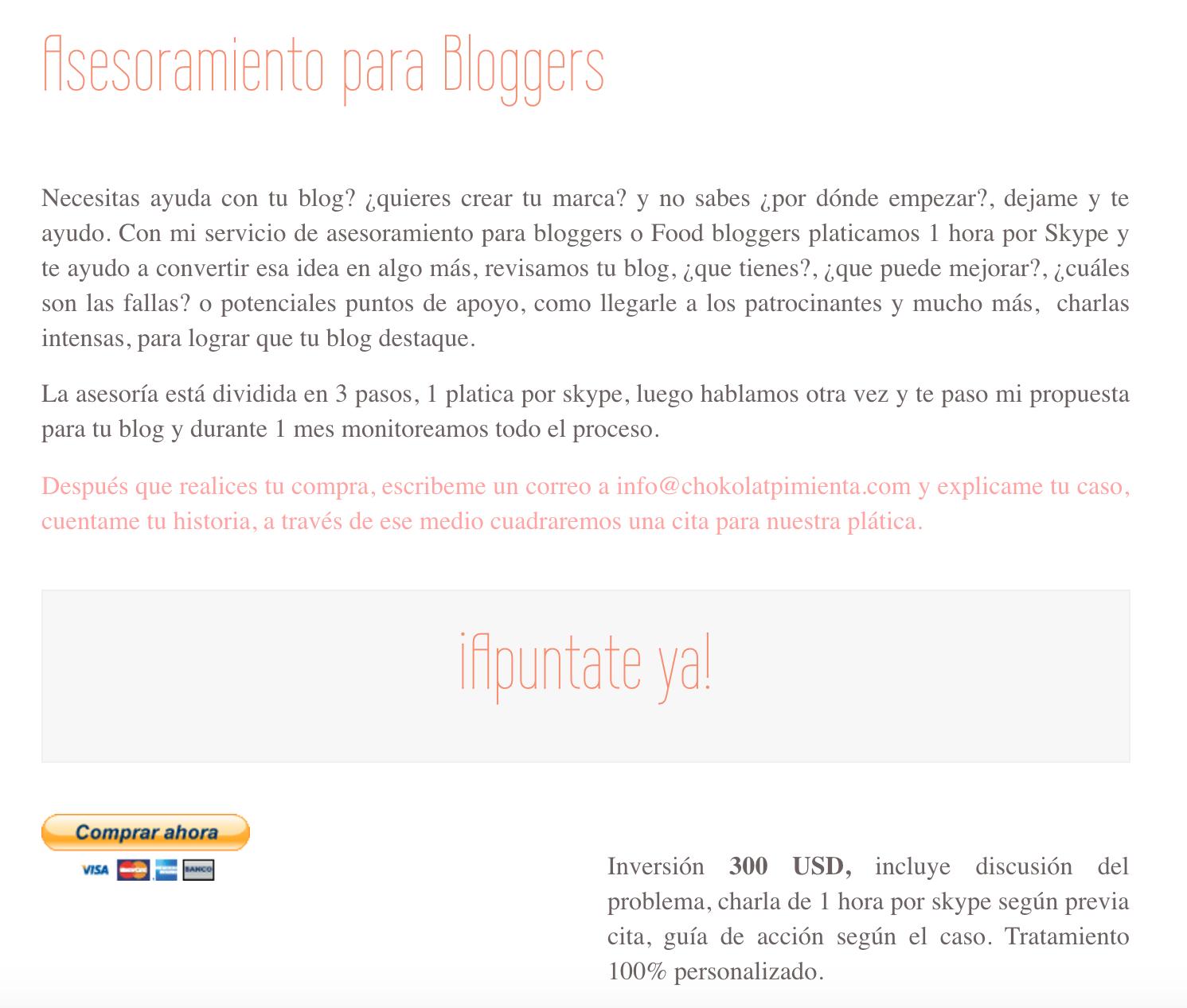 asesoramiento para bloggers
