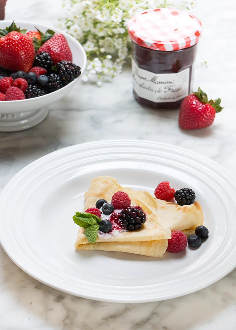 Fiesta de crepes mermelada blueberry